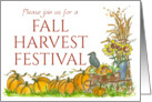 Fall Harvest Festival Invitation Pumpkins Crow Illustration Watercolor card