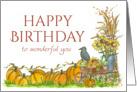 Happy Fall Birthday Wonderful You Pumpkin Illustration Watercolor card