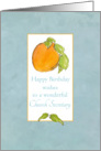 Church Secretary Happy Birthday Apricot Fruit Watercolor Art card