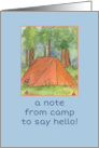 Note From Camp Tent Forest Watercolor Art Illustration card