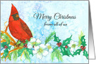 Merry Christmas From All of Us Santa Claus Blue Snowflakes card