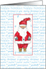 Happy Holidays Merry Christmas Santa Claus Blue Snowflakes card