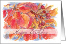 Happy Birthday Autumn Leaves Berries Botanical Illustration card