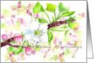Spring Greetings Apple Blossoms Botanical Illustration card
