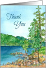 Thank You Blank Card Mountain Lake Landscape Watercolor card