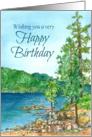 Happy Birthday Mountain Lake Landscape Watercolor card