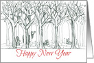 Happy New Year Woodland Forest Animals Deer Rabbit Drawing card
