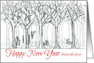 Happy New Year From All of Us Forest Animals Deer Rabbit card