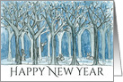 Happy New Year Woodland Forest Animals Deer Rabbit Painting card