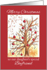 Merry Christmas Daughter's Boyfriend Primitive Holiday Tree card