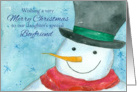 Merry Christmas Daughter's Boyfriend Snowman Watercolor card