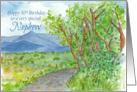 Happy 30th Birthday Nephew Mountain Landscape Watercolor card