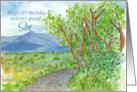 Happy 30th Birthday Son Mountain Landscape Watercolor card