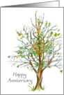 Happy Anniversary Employee Business Autumn Tree Drawing card