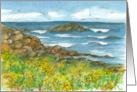 Happy Birthday Rocky Coastline Watercolor Fine Art Painting card