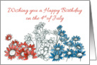 Happy 4th of July Birthday Red White Blue Daisy Flowers Drawing card