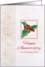 Happy Anniversary on Christmas Day Holly Botanical Watercolor card