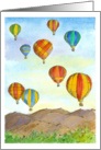 Happy Birthday Hot Air Balloons Mountains Trees Watercolor card
