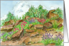 Friendship Thank You Desert Wildflower Landscape Watercolor Art card