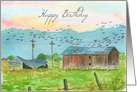 Happy Birthday Barns Birds Country Landscape Watercolor Painting card