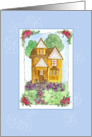Victorian Cottage House Blank Note Card Watercolor Painting card