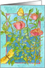 Pink Roses Blank Note Card Butterflies Watercolor Painting card
