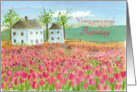 Wishing You A Lovely Birthday Pink Tulip Field Watercolor Painting card