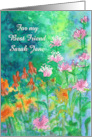 Floral Custom Name Friendship Card Garden Watercolor Painting card