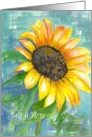 Just A Note Blank Card Yellow Sunflower Watercolor Painting card