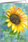 Happy Birthday Yellow Sunflower Watercolor Painting card