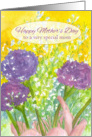 Happy Mother's Day Purple Carnation Bouquet Watercolor Painting card