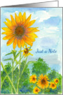 Sunflowers Just A Note Blank Card Watercolor Painting card
