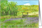 For Dad on Father's Day Purple Wildflowers Pasture Watercolor card