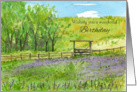 Happy Birthday Purple Wildflowers Pasture Watercolor card