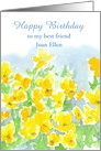 Happy Birthday Custom Name Card Yellow Pansies Floral Watercolor card
