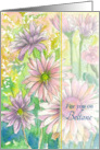 For You On Beltane May Day Pink Daisy Flowers Watercolor Painting card