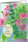 Wishing You A Lovely Birthday Pink Daisy Flowers Watercolor card