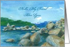 Hello Custom Name Mountain Lake Watercolor Painting card