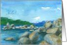 Hello Mountain Lake Rocks Watercolor Landscape Painting card