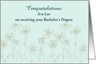 Bachelor's Degree Congratulations Custom Name Daisy Flowers card
