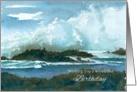 Happy Birthday Ocean Waves Rocks Seascape Watercolor Art card