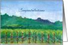 Congratulations Vineyard Roses Mountains Landscape Watercolor card