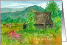 Thinking of You Mom and Dad Barn Sweet Peas Meadow Mountains card