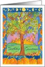 Birthday Greetings Sunset Pumpkins Fall Leaves Watercolor Painting card