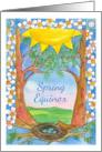 Spring Equinox Robin Eggs Bird Nest Landscape Watercolor Painting card