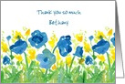 Thank You Custom Name Blue Yellow Watercolor Flowers card
