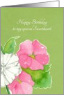Happy Birthday Sweetheart Pink Hollyhock Flowers Watercolor card