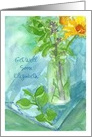 Get Well Soon Custom Name Yellow Daisy Wildflower Bouquet card