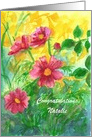 Congratulations Custom Name Pink Cosmos Watercolor Flowers card