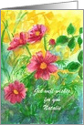 Get Well Soon Custom Name Pink Cosmos Watercolor Flowers card